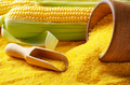 Ripe fresh organic sweet corncob and wooden bowl with scoop clos - PhotoDune Item for Sale