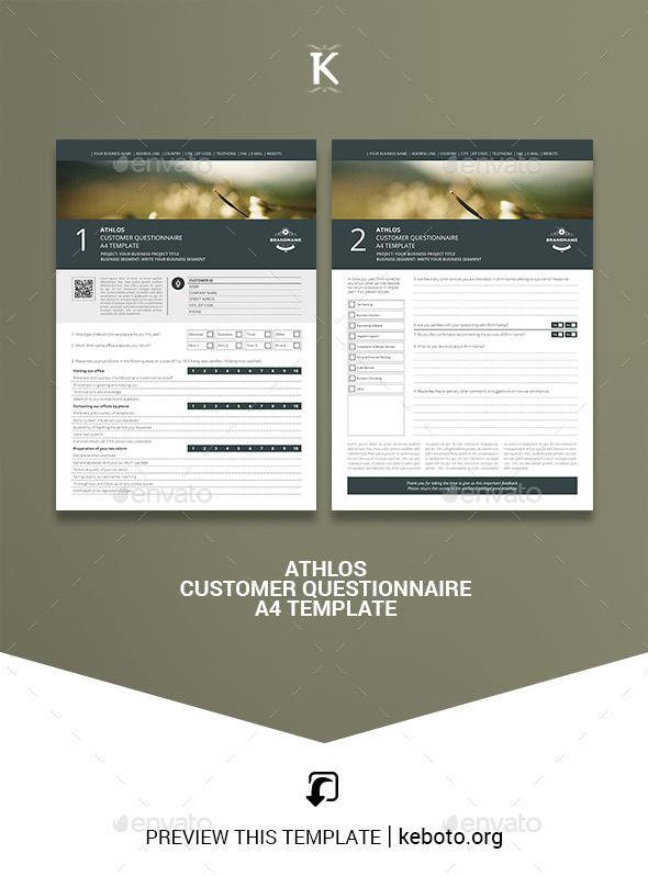 Athlos Customer Questionnaire A4 Template - Miscellaneous Print Templates