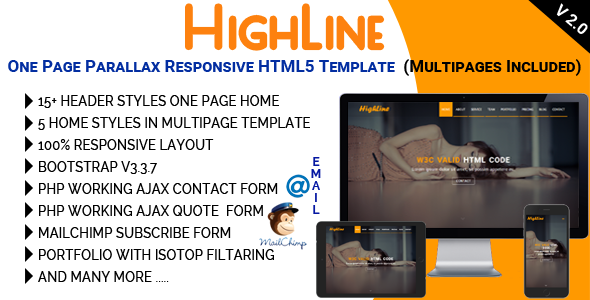 HighLine - One Page Parallax Responsive HTML5 Template - Corporate Site Templates