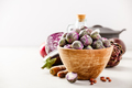 Purple Brussels sprouts in a wooden bowl - PhotoDune Item for Sale