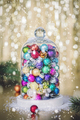 Christmas decoration with balls and snow - close up - PhotoDune Item for Sale