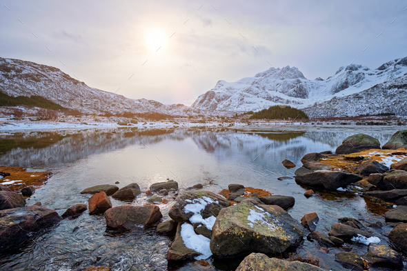 Sunset fjord in winter - Stock Photo - Images