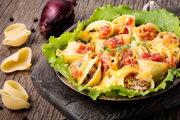 Pasta stuffed with meat - Stock Photo - Images