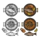 Barbecue Grill Top View with Fish and Steak - GraphicRiver Item for Sale
