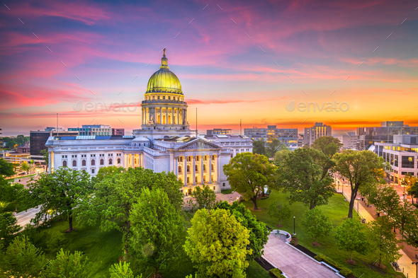 Madison, Wisconsin, USA State Capitol Building - Stock Photo - Images