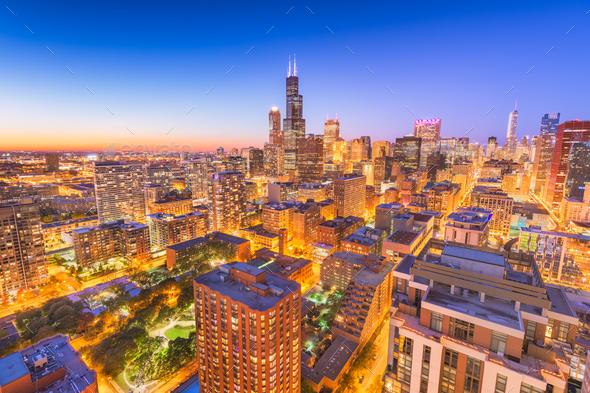 Chicago, Illinois, USA Skyline - Stock Photo - Images