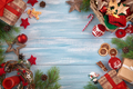Christmas gift boxes on wooden desk - PhotoDune Item for Sale