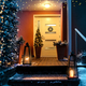 Welcome Christmas house entrance door in Xmas evening - PhotoDune Item for Sale