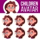 Girl Avatar Set Kid Vector. Primary School. Face - GraphicRiver Item for Sale