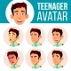 Teen Boy Avatar Set Vector. Asian Face Emotions - GraphicRiver Item for Sale