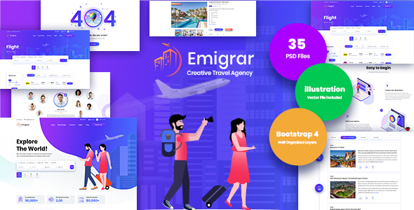 Emigrar- Creative Travel Agency PSD Template