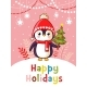 Christmas Vector Greeting Card with Penguin - GraphicRiver Item for Sale