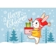 Christmas Card with a Hare Which Carries Gifts - GraphicRiver Item for Sale
