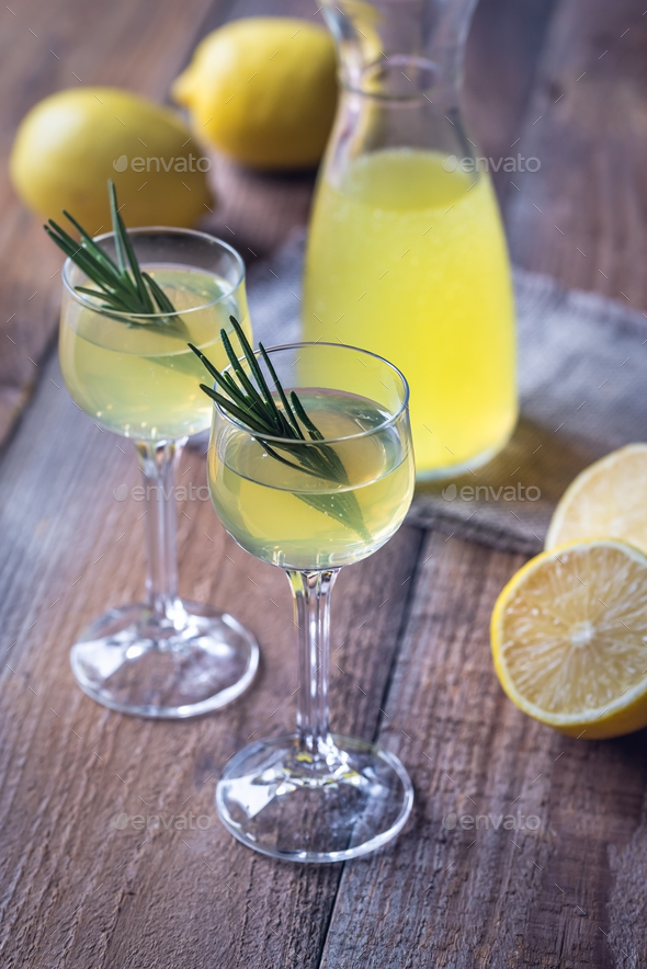 Glasses of limoncello - Stock Photo - Images