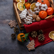 Christmas decoration with gingerbread cookies, dry oranges, nuts and tangerines, copyspace - PhotoDune Item for Sale