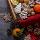 Gingerbread cookies, dry oranges, tangerines and nuts for christmas decoration, copyspace - PhotoDune Item for Sale