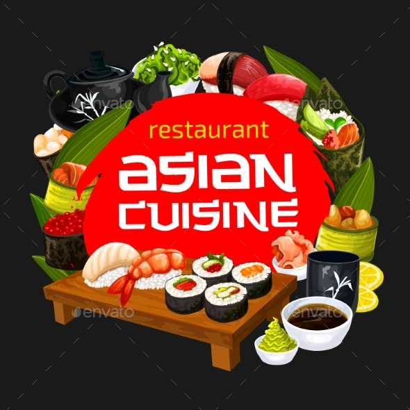Japanese Cuisine Sushi Restaurant Menu - Food Objects