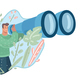 Guy Looking Through Binoculars - GraphicRiver Item for Sale