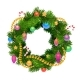 Christmas Holiday Wreath with Balls and Decoration - GraphicRiver Item for Sale