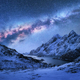 Bright Milky Way over snow covered mountains and sea bay at nigh - PhotoDune Item for Sale