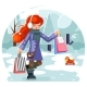 Winter Shopping Bag Package Girl Purchase Park - GraphicRiver Item for Sale