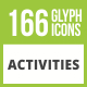 166 Activities Glyph Inverted Icons - GraphicRiver Item for Sale