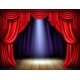 Stage with Opened Red Curtains Realistic Vector - GraphicRiver Item for Sale