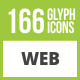 166 Web Glyph Inverted Icons - GraphicRiver Item for Sale
