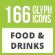 166 Food & Drinks General Glyph Inverted Icons - GraphicRiver Item for Sale