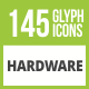 145 Hardware Glyph Inverted Icons - GraphicRiver Item for Sale