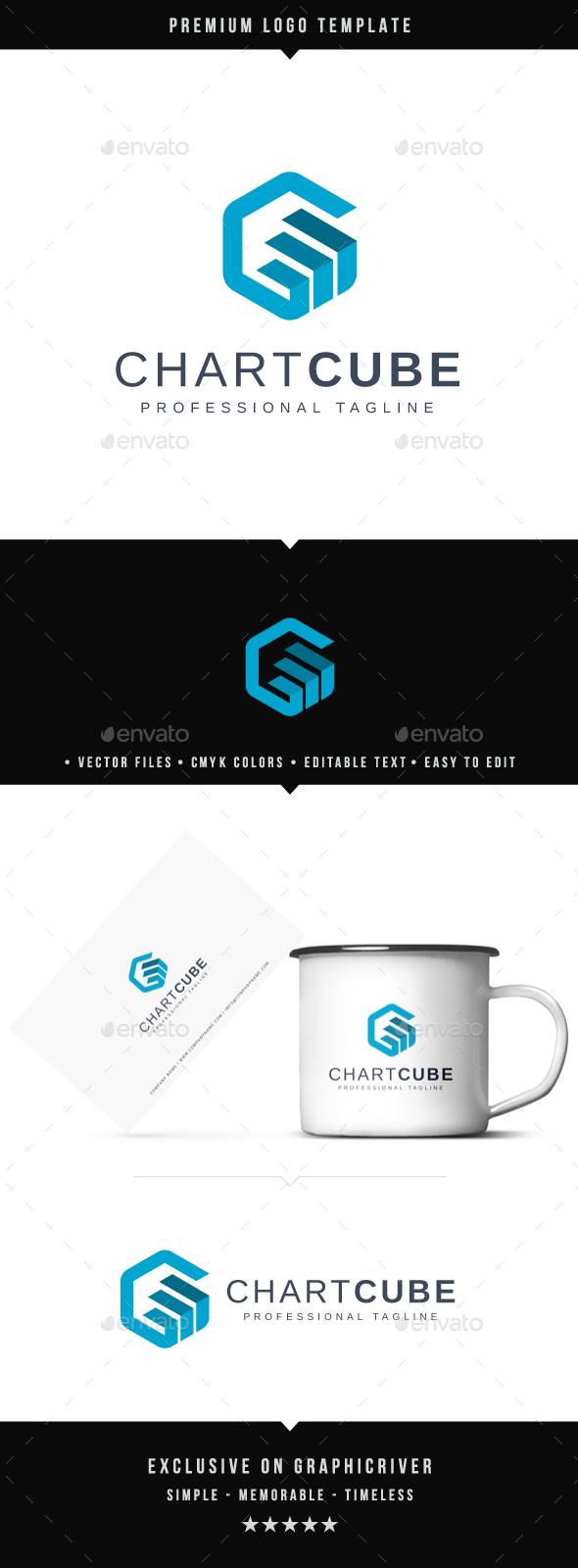 Chart Cube Logo - Abstract Logo Templates