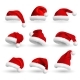 Collection of Red Santa Claus Hats Isolated - GraphicRiver Item for Sale