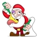 Santa Dancing and Drinking Vector Cartoon - GraphicRiver Item for Sale