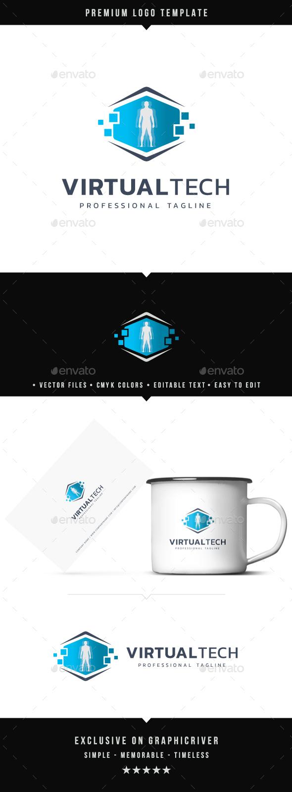 Virtual Tech Logo - Abstract Logo Templates
