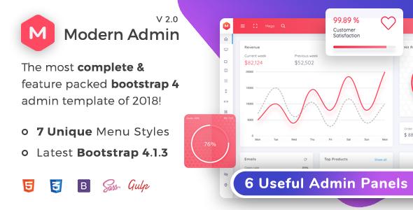 Modern Admin - Clean Bootstrap 4 Dashboard HTML Template + Bitcoin Dashboard - Admin Templates Site Templates