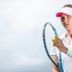 Free Download Young girl playing tennis outdoors Nulled