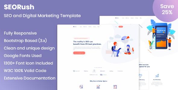 SEORush – SEO and Digital Marketing Template - Technology Site Templates