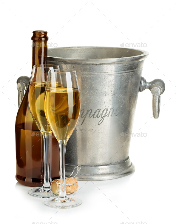 Champagne bottle with ice bucket and glasses of champagne isolated. - Stock Photo - Images