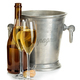 Free Download Champagne bottle with ice bucket and glasses of champagne isolated. Nulled