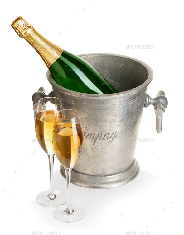 Champagne bottle in ice bucket with glasses of champagne isolated. - Stock Photo - Images