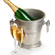 Champagne bottle in ice bucket with glasses of champagne isolated. - PhotoDune Item for Sale