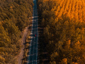 Aerial view of car on road through forest in autumn - PhotoDune Item for Sale