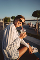 Young girl in sunglasses with a glass of lemonade - PhotoDune Item for Sale
