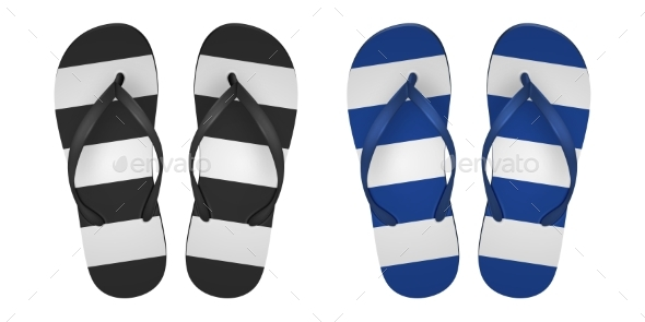Vector Realistic Striped Flip Flop Set Closeup - Man-made Objects Objects