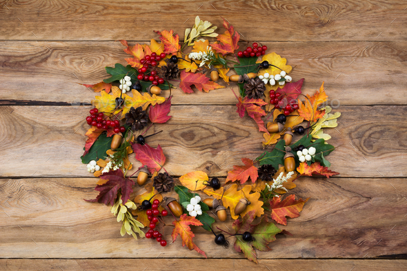 Fall wreath with viburnum and black berries - Stock Photo - Images
