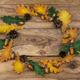 Free Download Fall door wreath with oak leaves, acorns, copy space Nulled