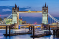 The famous illuminated Tower Bridge in London - PhotoDune Item for Sale