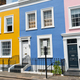 Colorful row houses seen in Notting Hill - PhotoDune Item for Sale