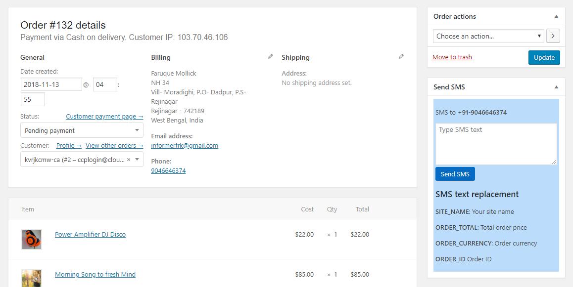 Nexmo WooCommerce SMS Alert Plugin by CodeSpeedy - 3