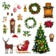 Christmas Winter Holidays Icons with Santa Gifts - GraphicRiver Item for Sale